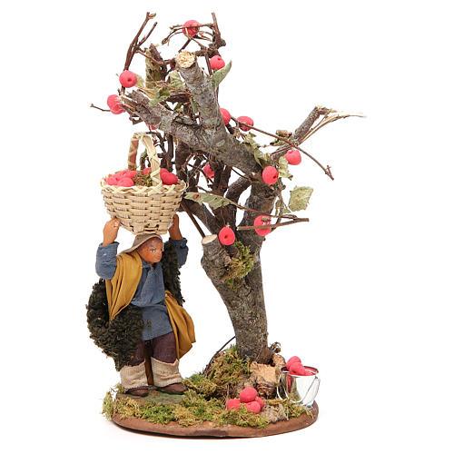 Homme panier de pommes et arbre 10 cm crèche Naples 1