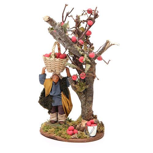 Homme panier de pommes et arbre 10 cm crèche Naples 2