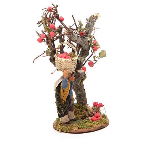 Homme panier de pommes et arbre 10 cm crèche Naples 4