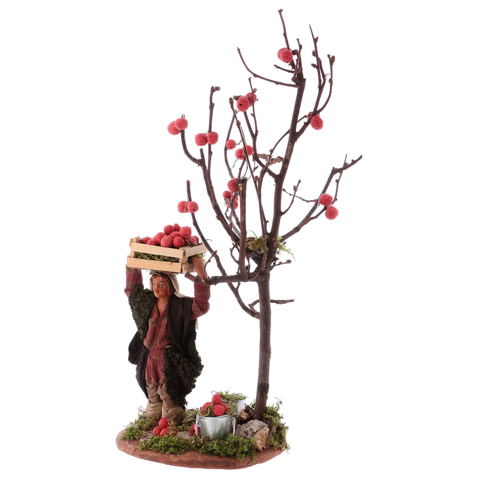 Uomo cesto di mele e albero 10 cm presepe Napoli 4