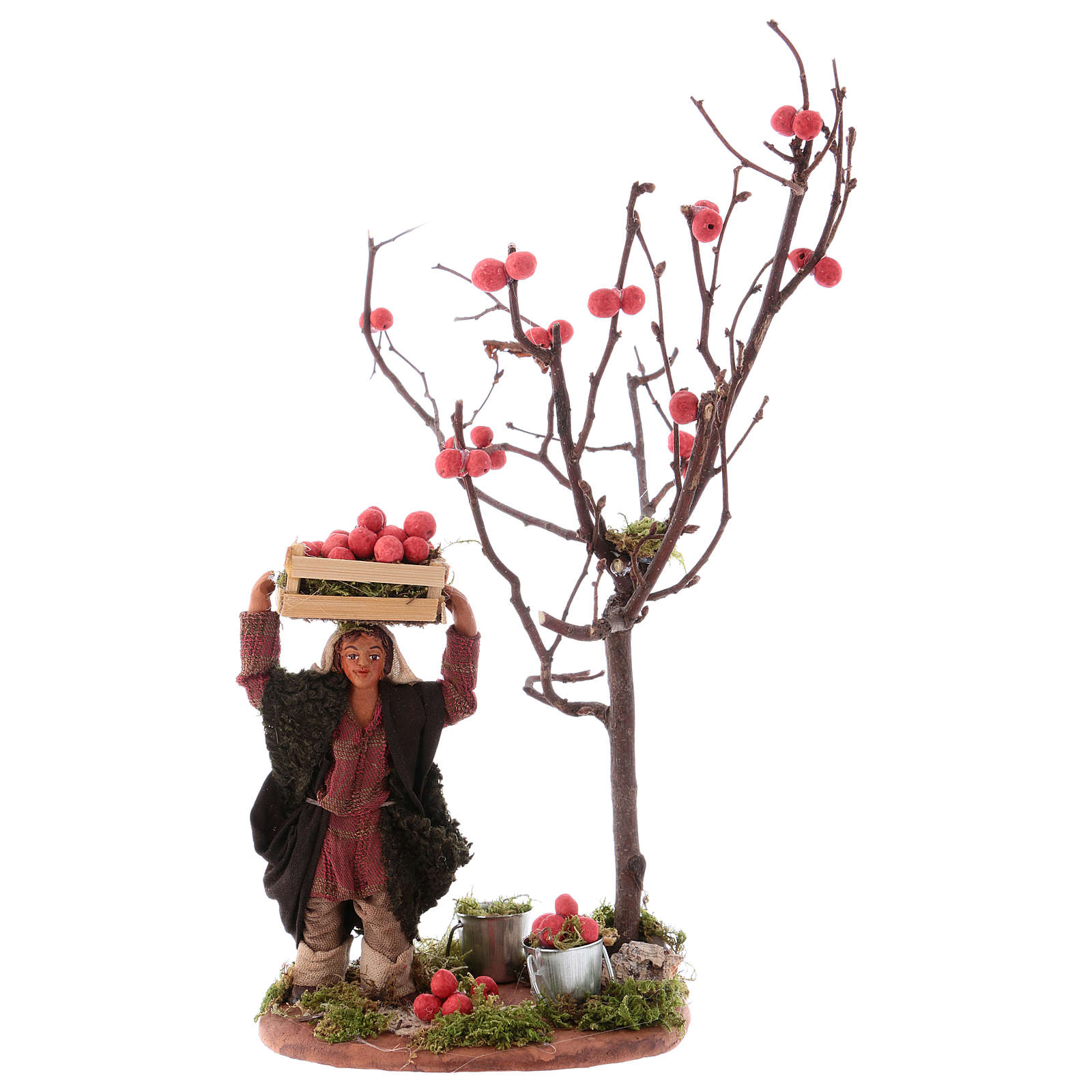Man with apple basket and tree for Neapolitan Nativity 10 cm 4