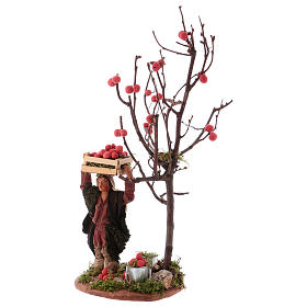 Man with apple basket and tree for Neapolitan Nativity 10 cm s2