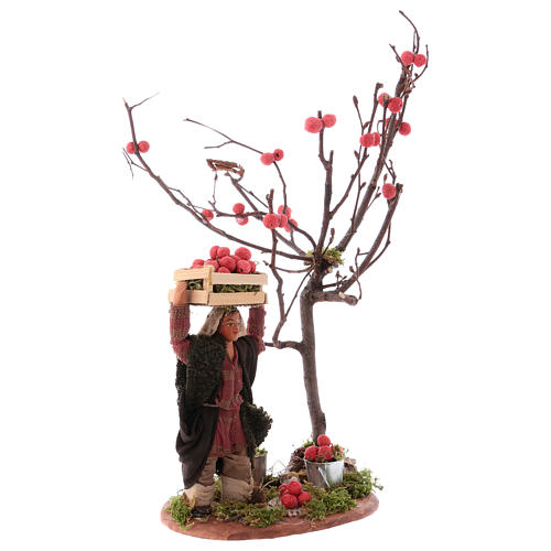 Man with apple basket and tree for Neapolitan Nativity 10 cm 3