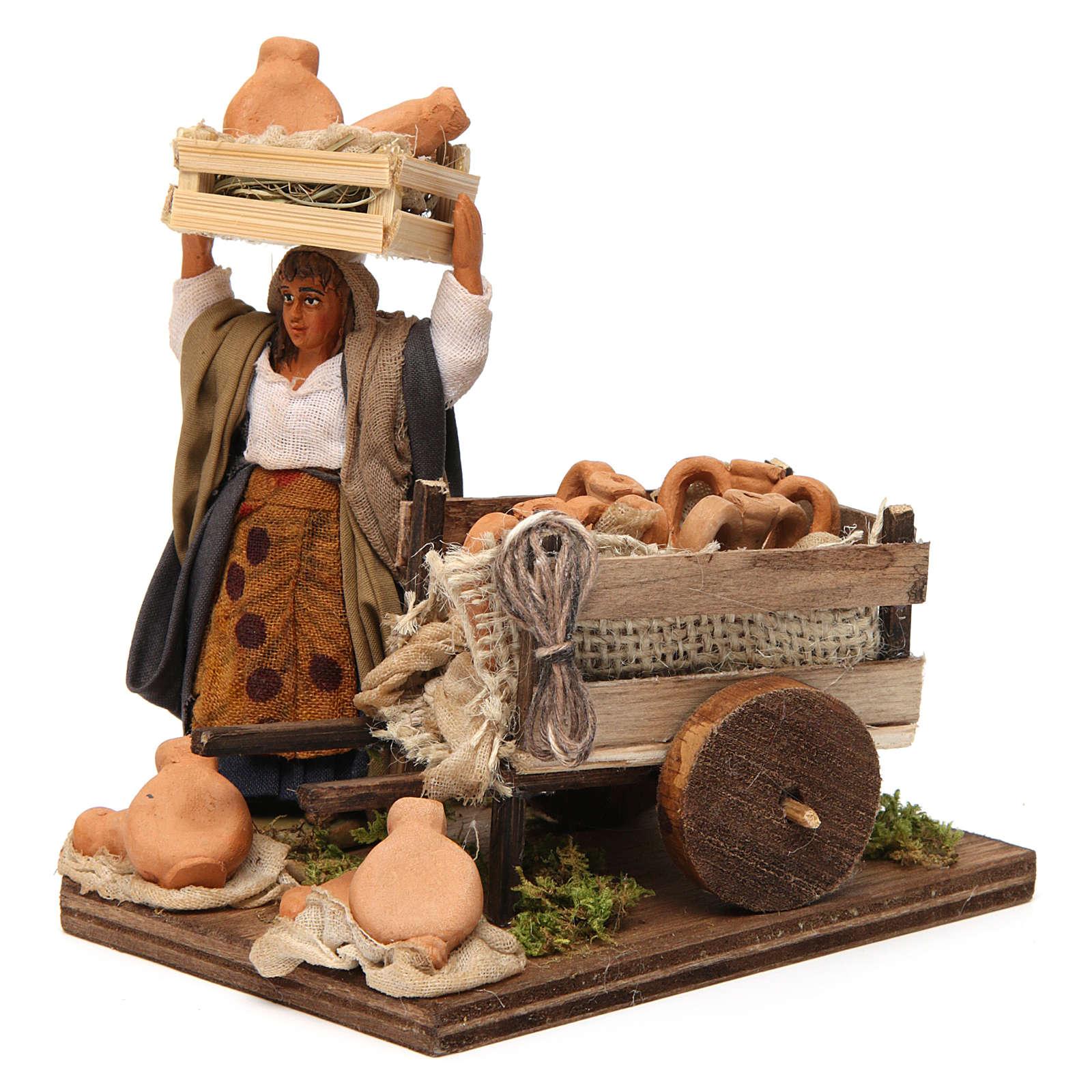 Venditrice di anfore con carretto 10 cm presepe Napoli 4