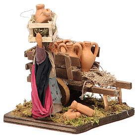 Venditrice di anfore con carretto 10 cm presepe Napoli s4