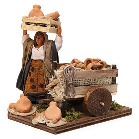 Venditrice di anfore con carretto 10 cm presepe Napoli s2