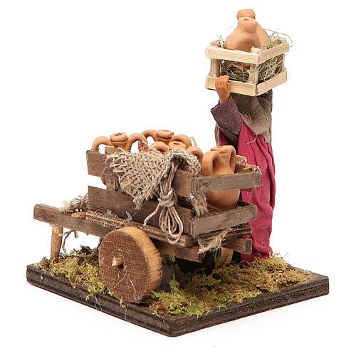 Venditrice di anfore con carretto 10 cm presepe Napoli 3