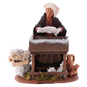 Neapolitan Nativity Scene: Woman kneading with wooden stall, Neapolitan nativity figurine 12cm
