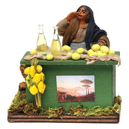 Lemon seller with stall, Neapolitan nativity figurine, 10cm 1