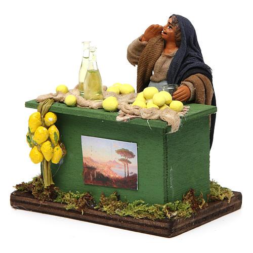 Lemon seller with stall, Neapolitan nativity figurine, 10cm 2