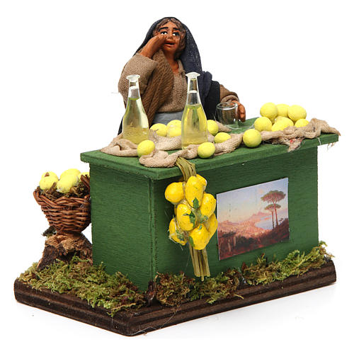 Lemon seller with stall, Neapolitan nativity figurine, 10cm 3