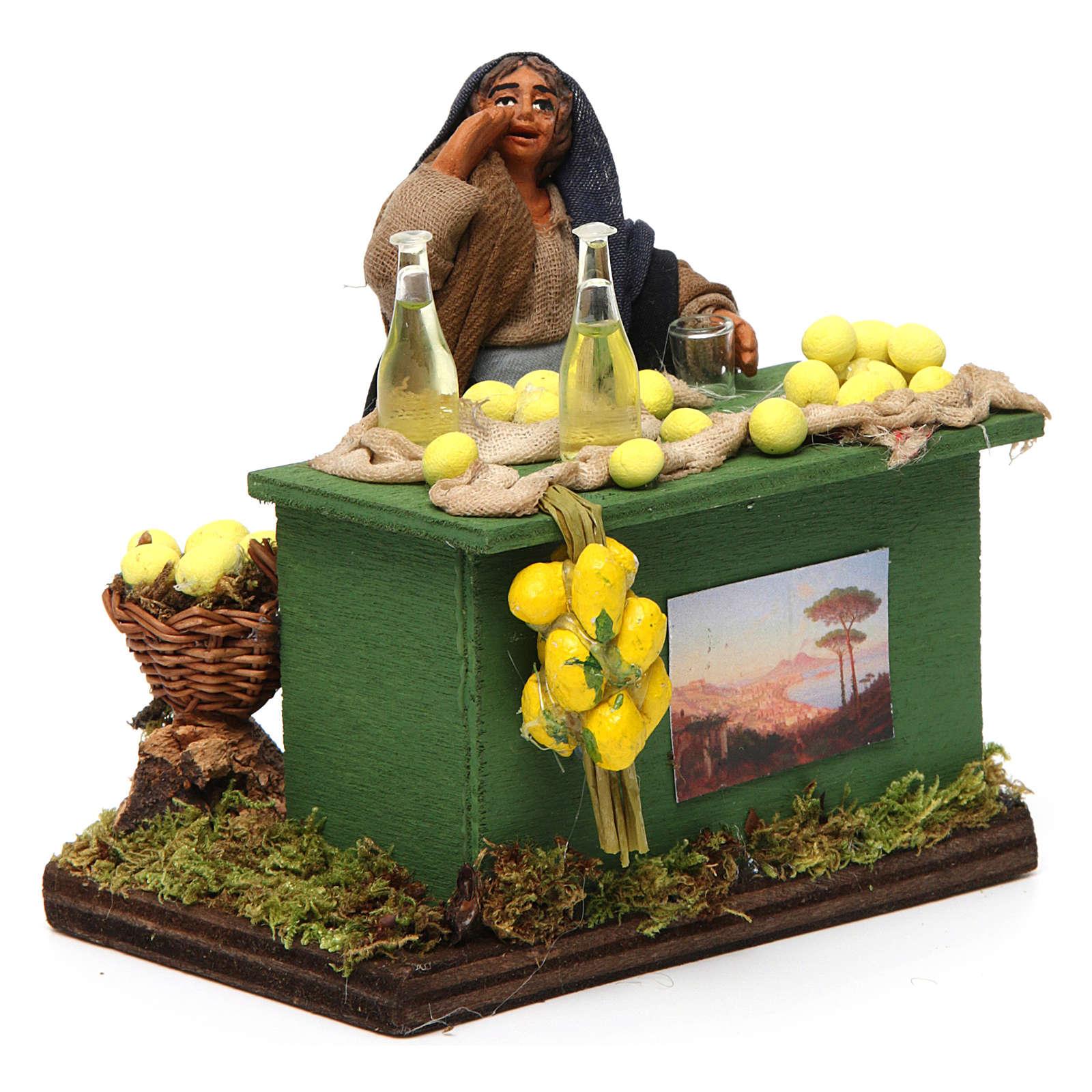 Lemon seller with stall, Neapolitan nativity figurine, 10cm 4