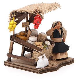 Venditrice di salumi seduta 10 cm presepe napoletano s4