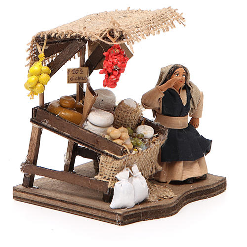 Venditrice di salumi seduta 10 cm presepe napoletano 4