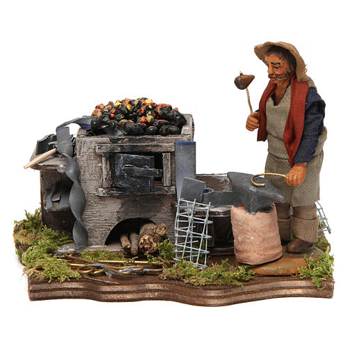 Blacksmith with forge, Neapolitan nativity figurine, 10cm 1