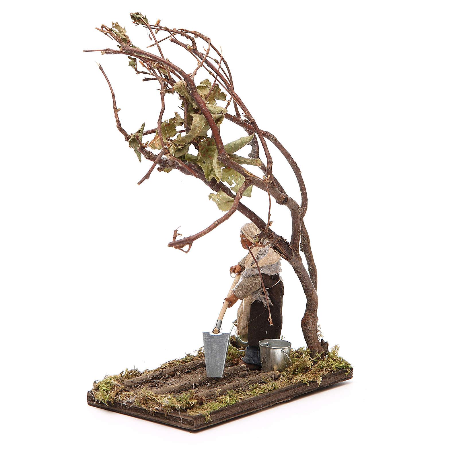 Agricoltore con albero 10 cm presepe napoletano 4