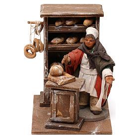 Neapolitan Nativity Scene: Baker with bread trough 10cm, Neapolitan figurine