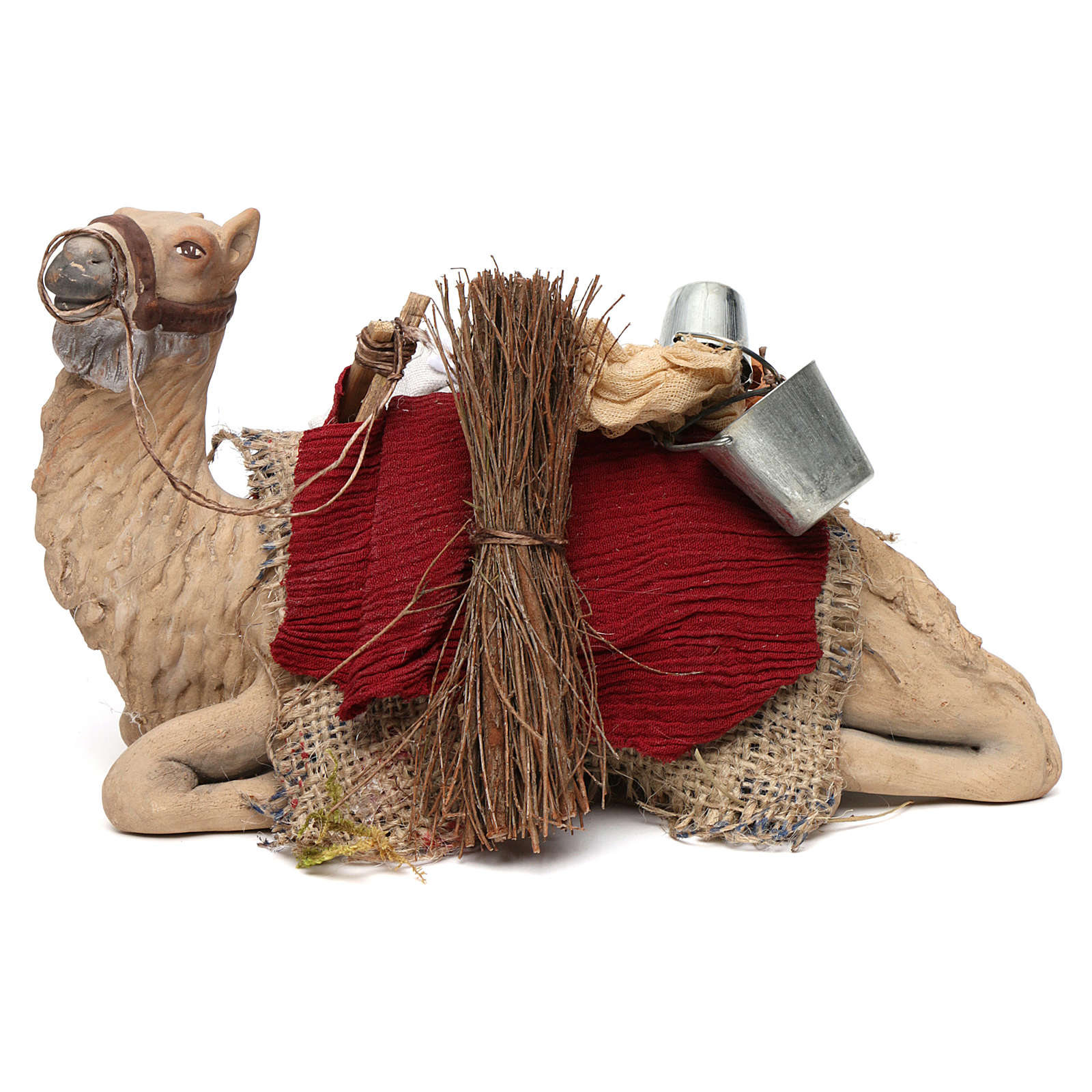 Harnessed sitting camel for Neapolitan nativity 14cm 4