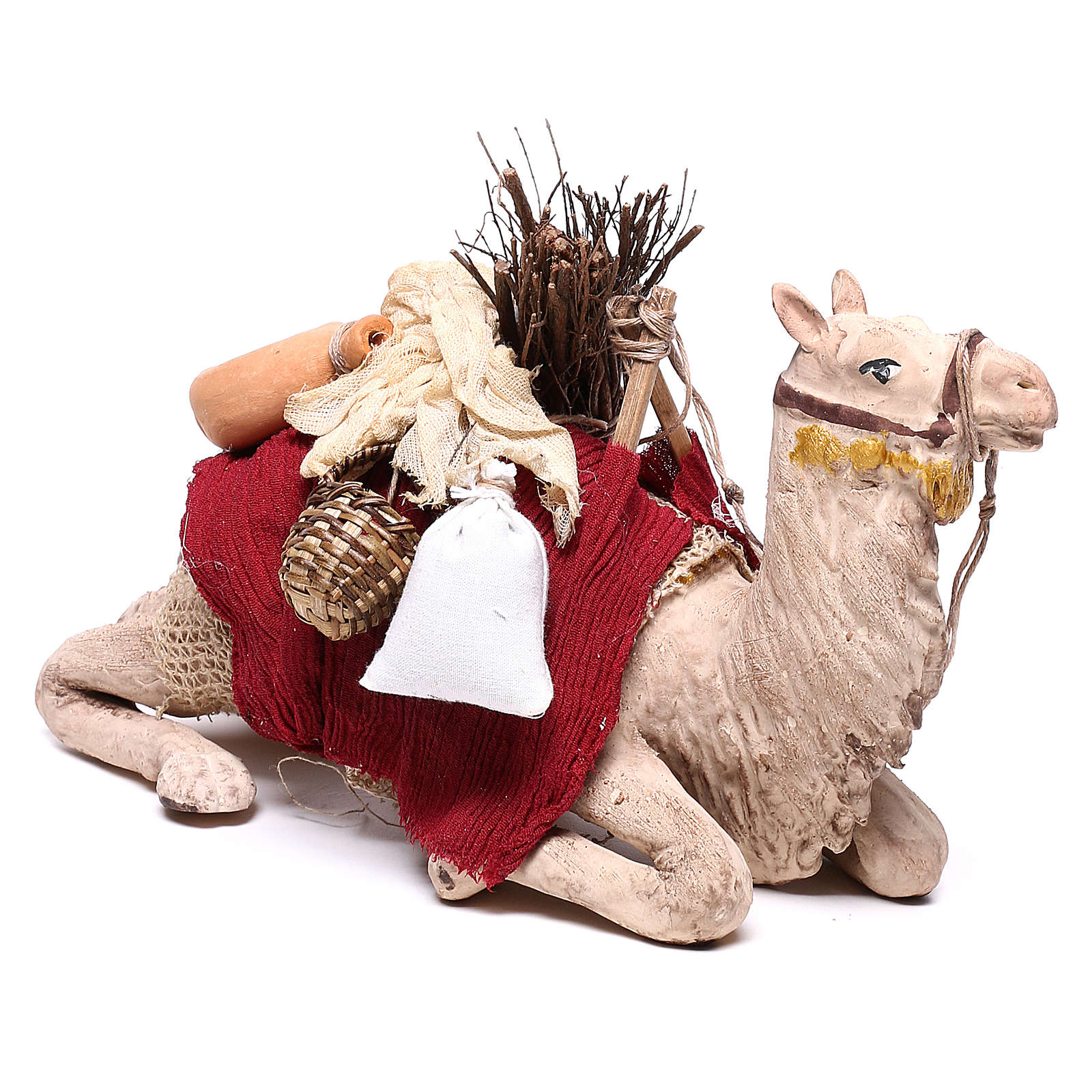 Harnessed sitting camel for Neapolitan nativity 14cm 4