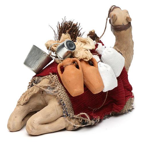 Harnessed sitting camel for Neapolitan nativity 14cm 5