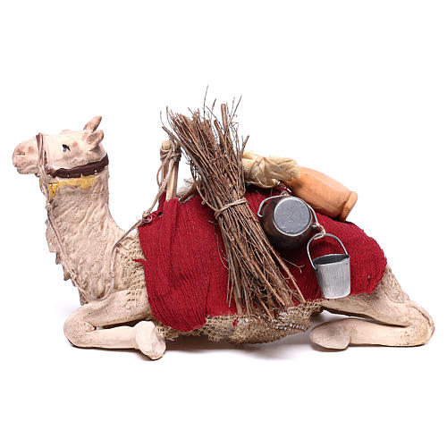 Harnessed sitting camel for Neapolitan nativity 14cm 1