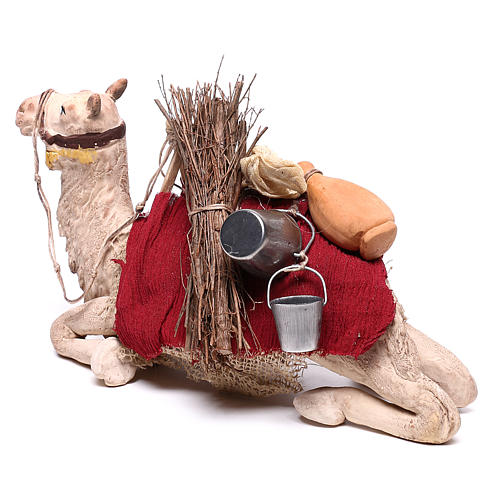 Harnessed sitting camel for Neapolitan nativity 14cm 6