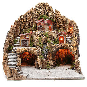 Illuminated nativity setting with stream and staircase 45x48x40cm s1