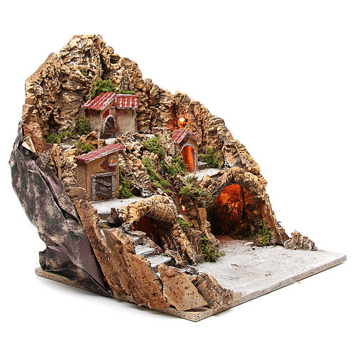 Illuminated nativity setting with stream and staircase 45x48x40cm 3
