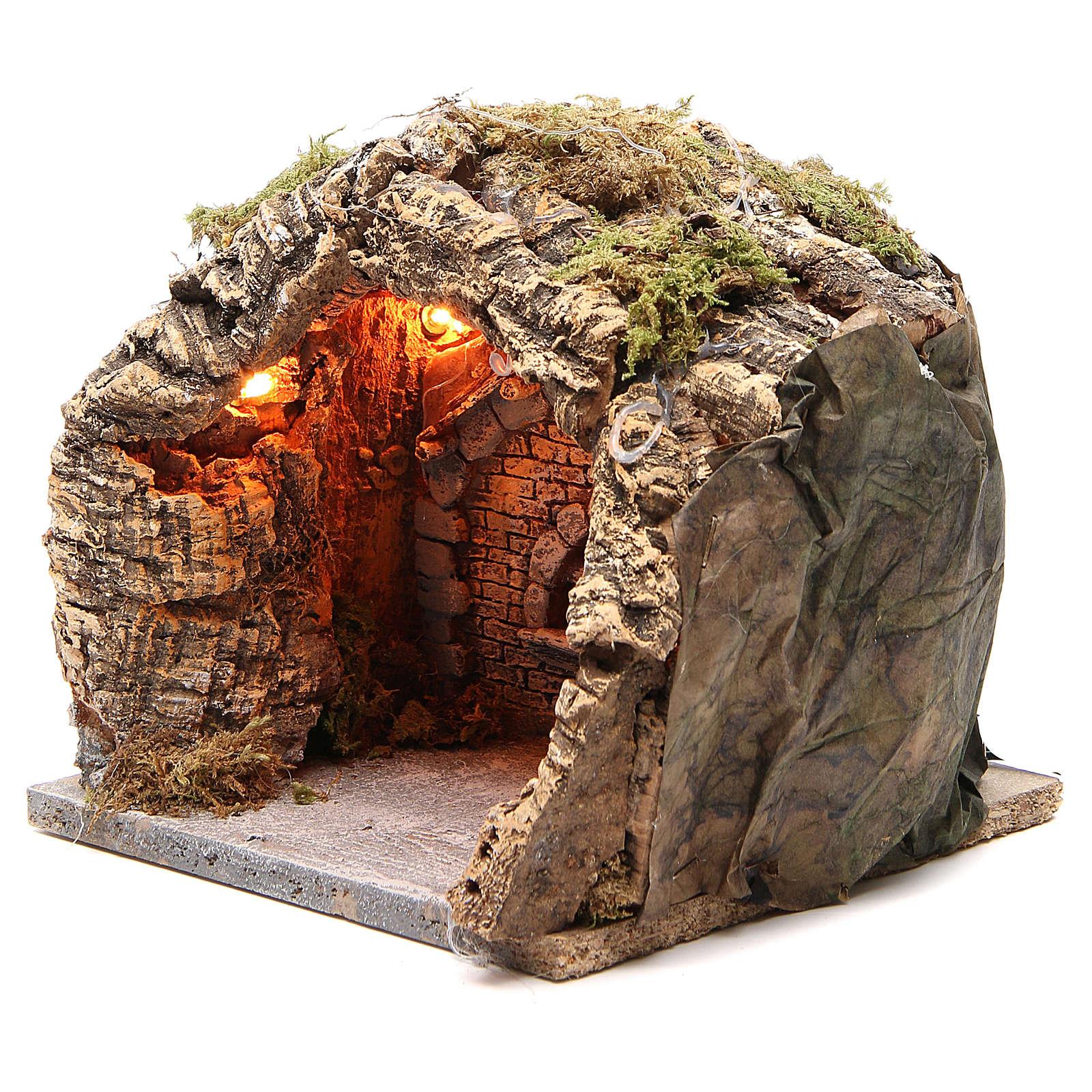 Illuminated grotto in cork for Neapolitan nativity 20x20x18cm 4