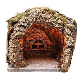 Neapolitan Nativity Scene: Illuminated grotto in cork for Neapolitan nativity 20x20x18cm