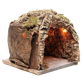 Illuminated grotto in cork for Neapolitan nativity 20x20x18cm s3