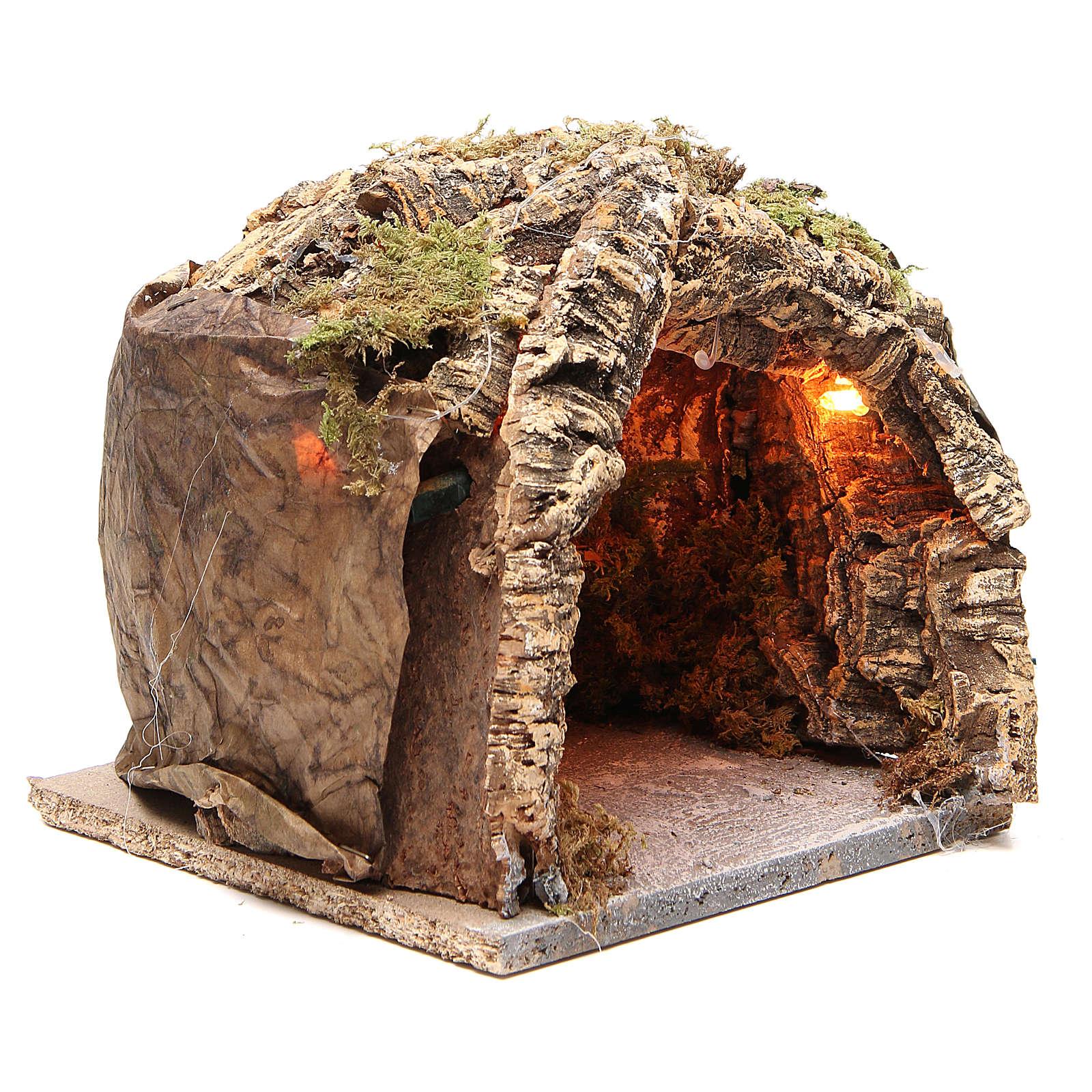 Grotta illuminata presepe napoletano 20x20x18 cm sughero 4