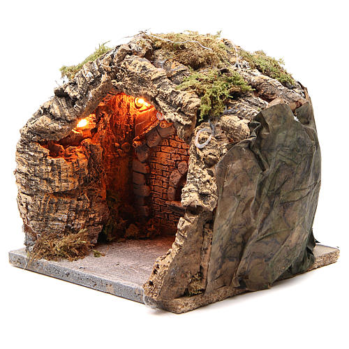 Grotta illuminata presepe napoletano 20x20x18 cm sughero 2
