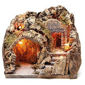 Illuminated grotto with staircase 23x25x20cm s1