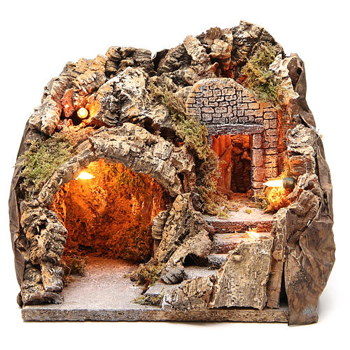 Illuminated grotto with staircase 23x25x20cm 1