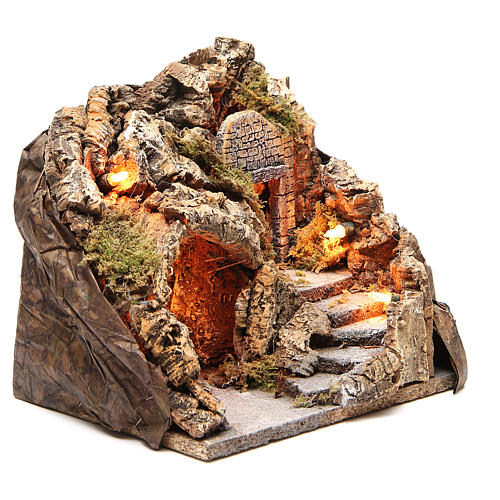 Illuminated grotto with staircase 23x25x20cm 3
