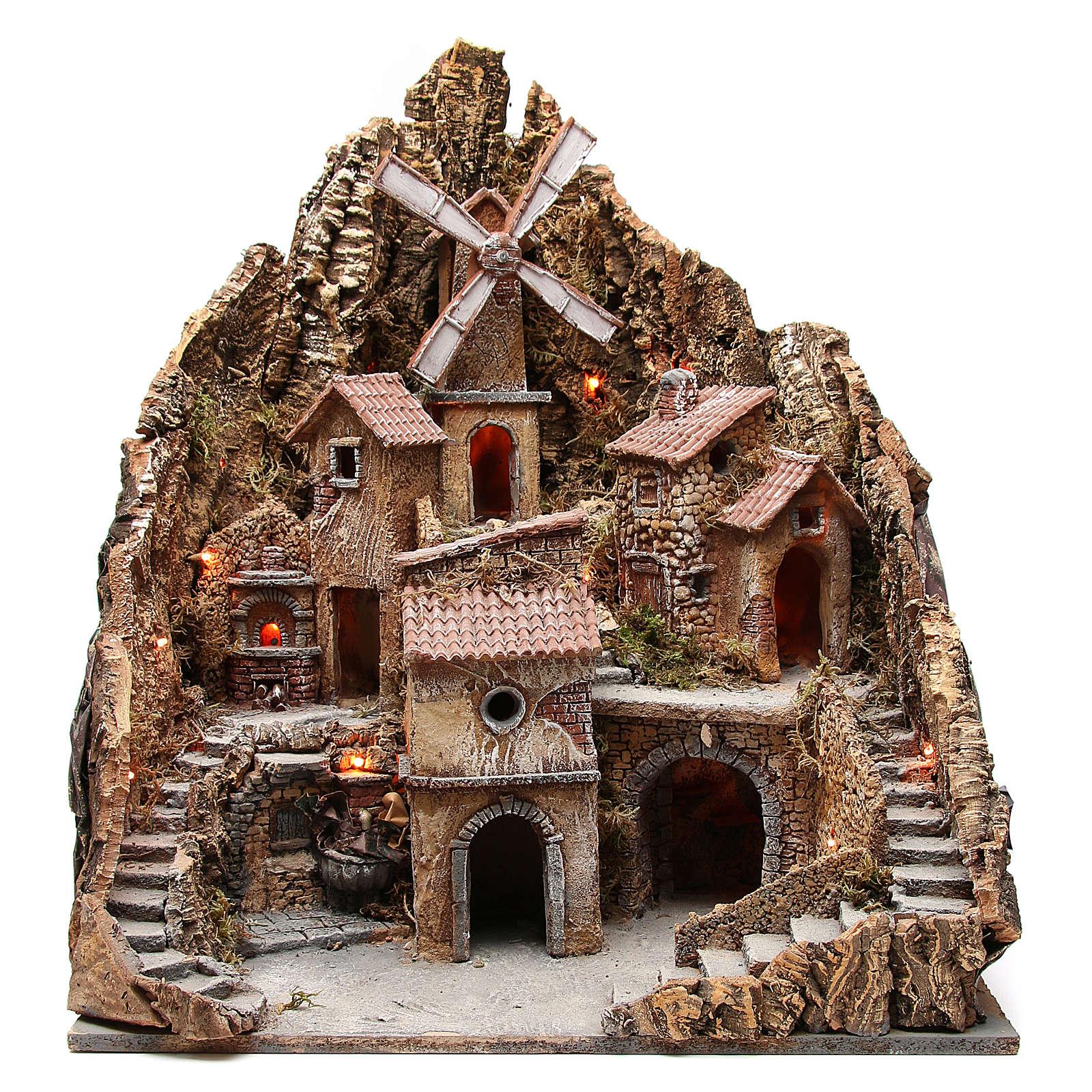 Pueblo para belén napolitano con molino de viento 60x58x55 cm 4