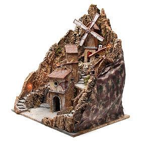 Pueblo para belén napolitano con molino de viento 60x58x55 cm s2