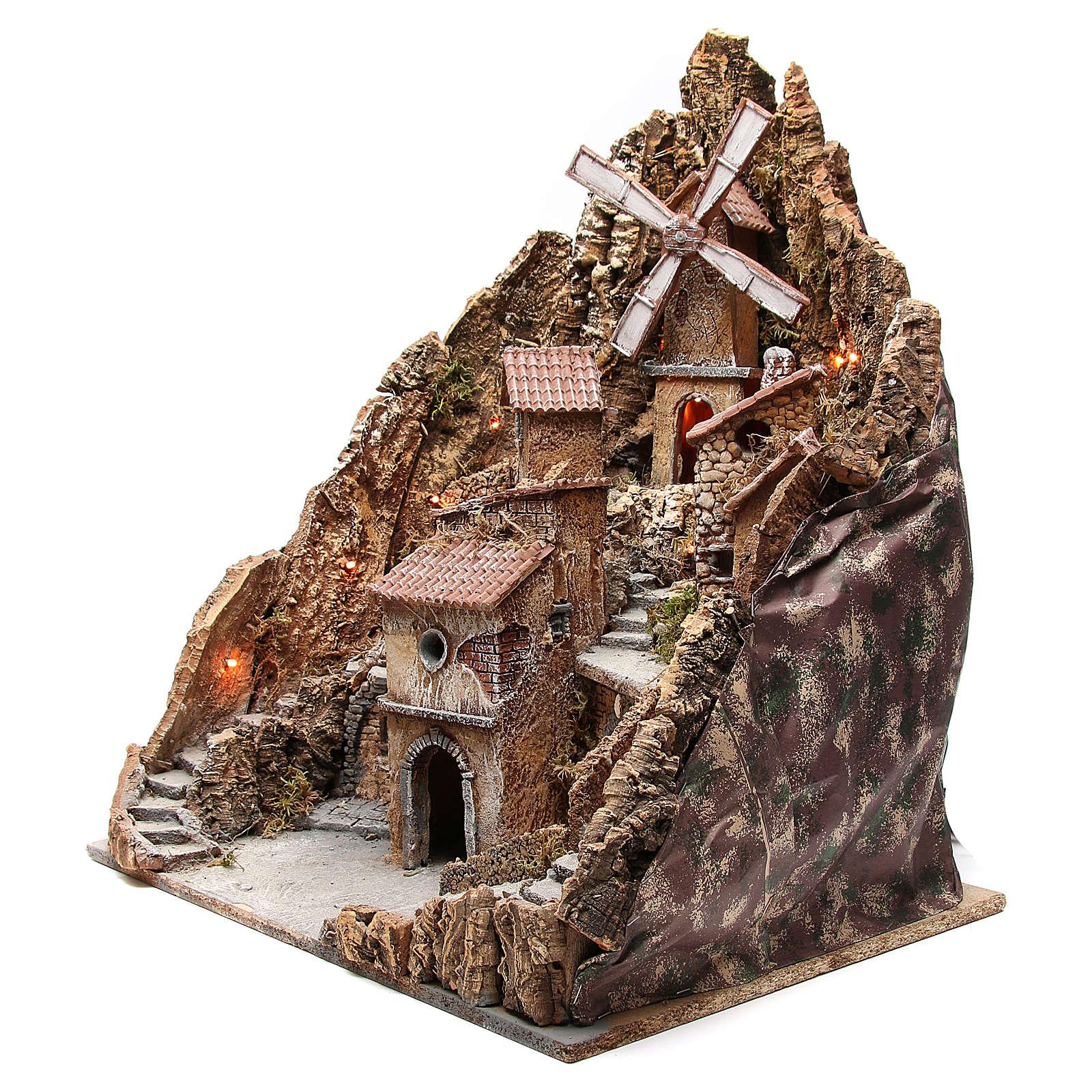 Borgo presepe napoletano con mulino 60x58x55 cm 4