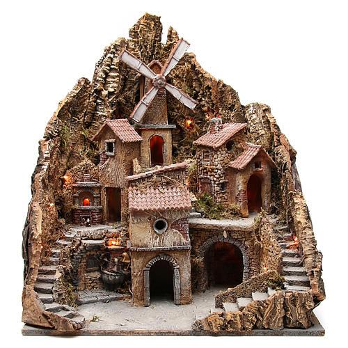 Borgo presepe napoletano con mulino 60x58x55 cm 1