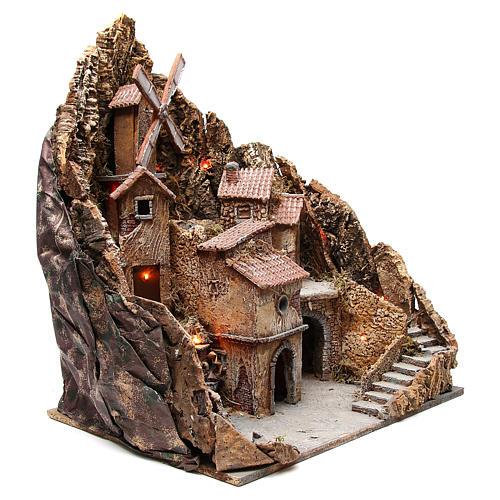 Borgo presepe napoletano con mulino 60x58x55 cm 3