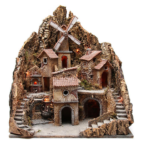 Village with windmill for Neapolitan nativity 60x58x55cm 1