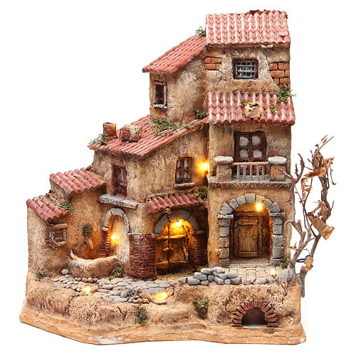 Farmhouse in resin for nativities with fountain 39x36x20cm 1