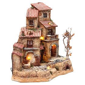 Casa grande en resina para belén con fuente 39x36x20 cm s3