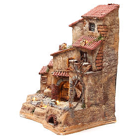 Farmhouse in resin for nativities with fountain 39x36x20cm s2