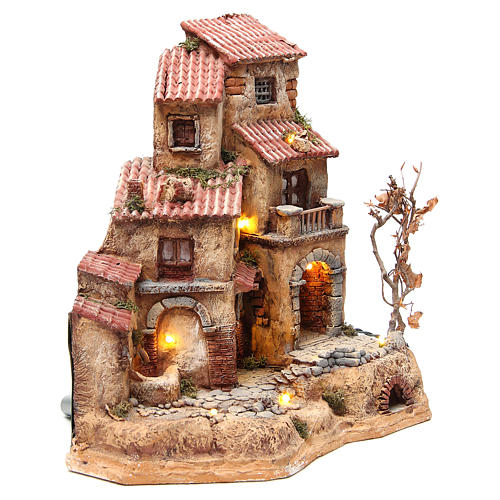 Farmhouse in resin for nativities with fountain 39x36x20cm 3