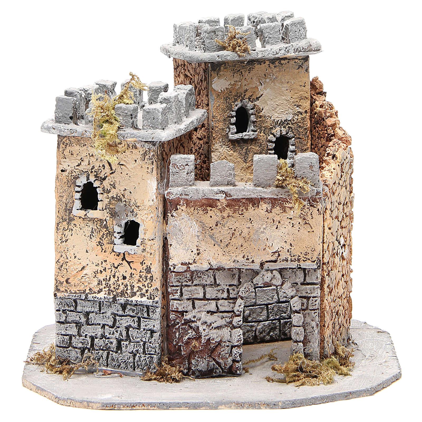 Château crèche napolitaine en liège 20x22x20 cm 4