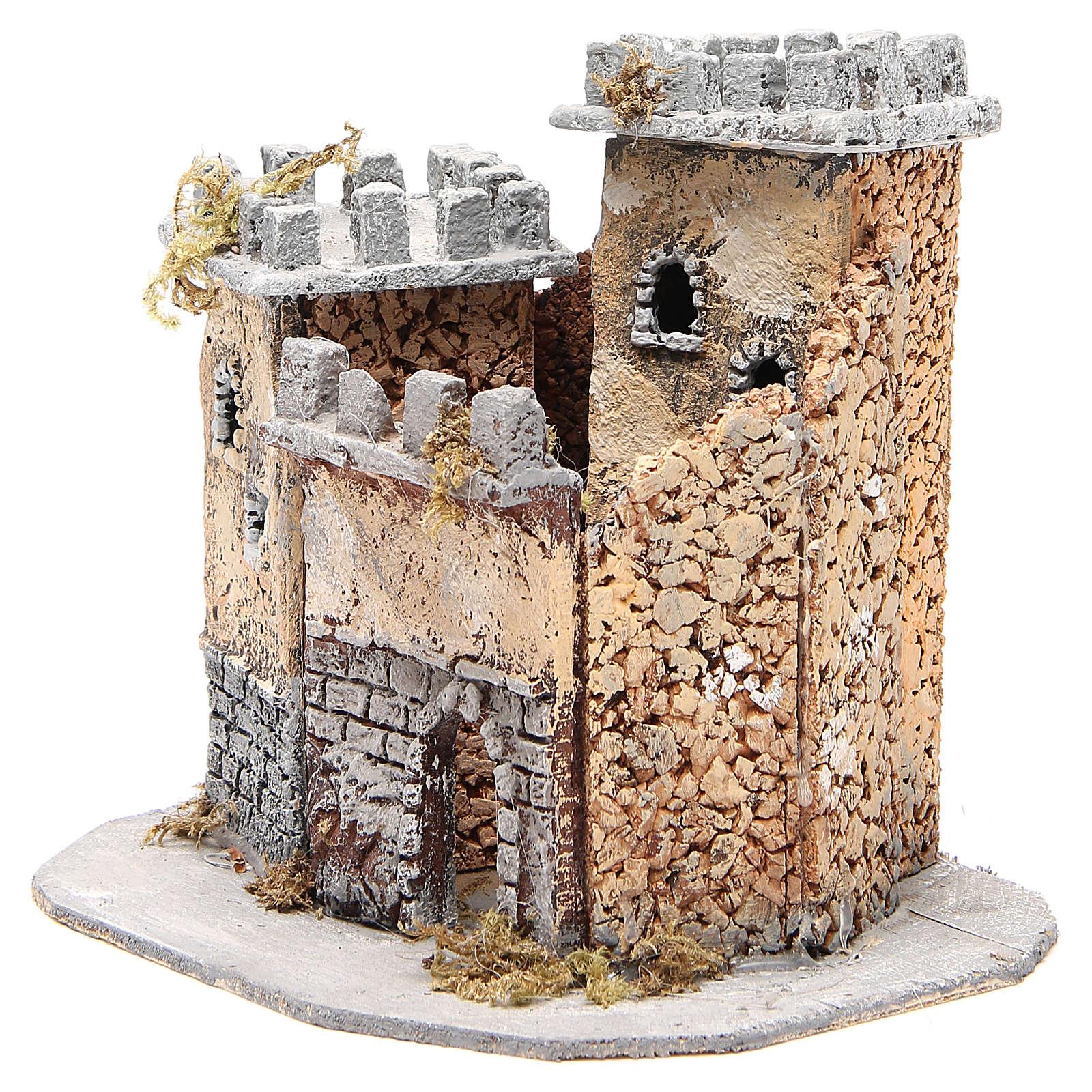 Castello presepe napoletano in sughero 20x22x20 cm 4