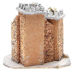 Castello presepe napoletano in sughero 20x22x20 cm s4