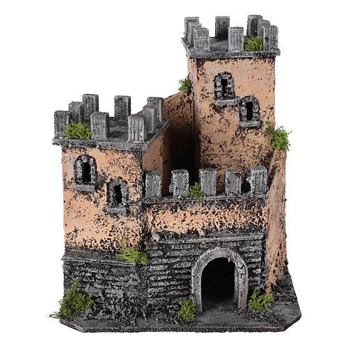 Castello presepe napoletano in sughero 20x22x20 cm 5